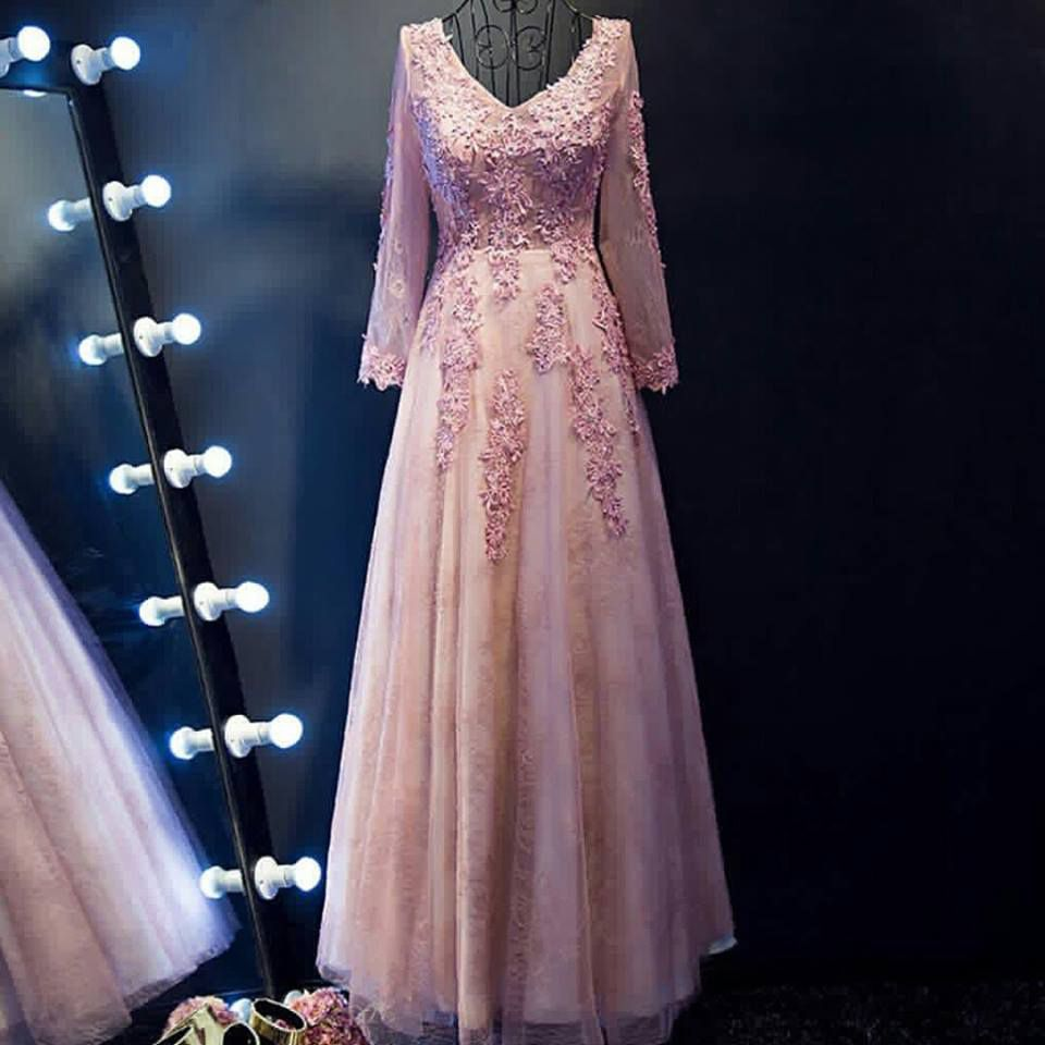 Lace Appliqued Long Sleeves Prom Dresses,Long Mother for