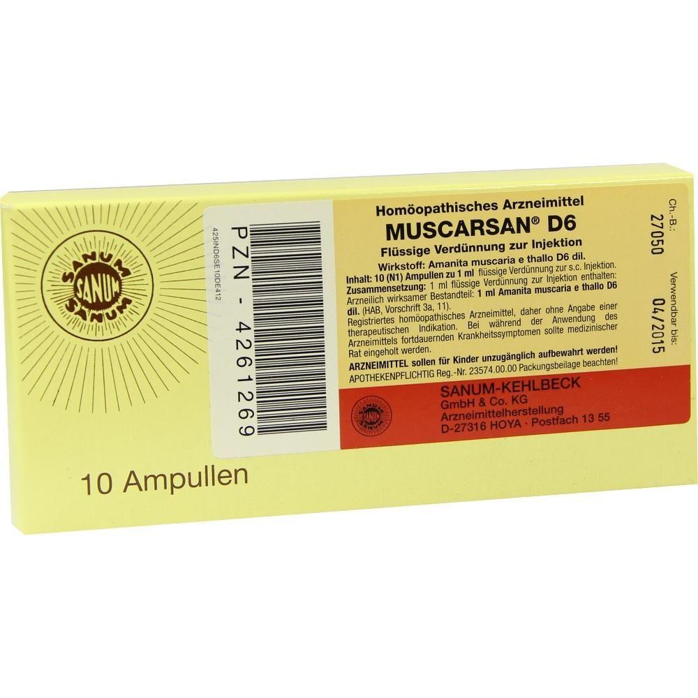 MUSCARSAN D 6 Ampullen:   Packungsinhalt: 10X1 ml Ampullen PZN: 04261269 Hersteller: SANUM-KEHLBECK GmbH & Co. KG Preis: 7,38 EUR inkl.…
