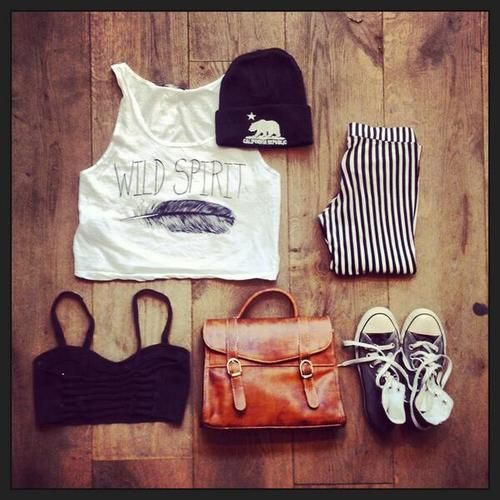 Brandy melville outfit-striped pants,nude bag,white crop top,black badeu,grey converse,black beanie
