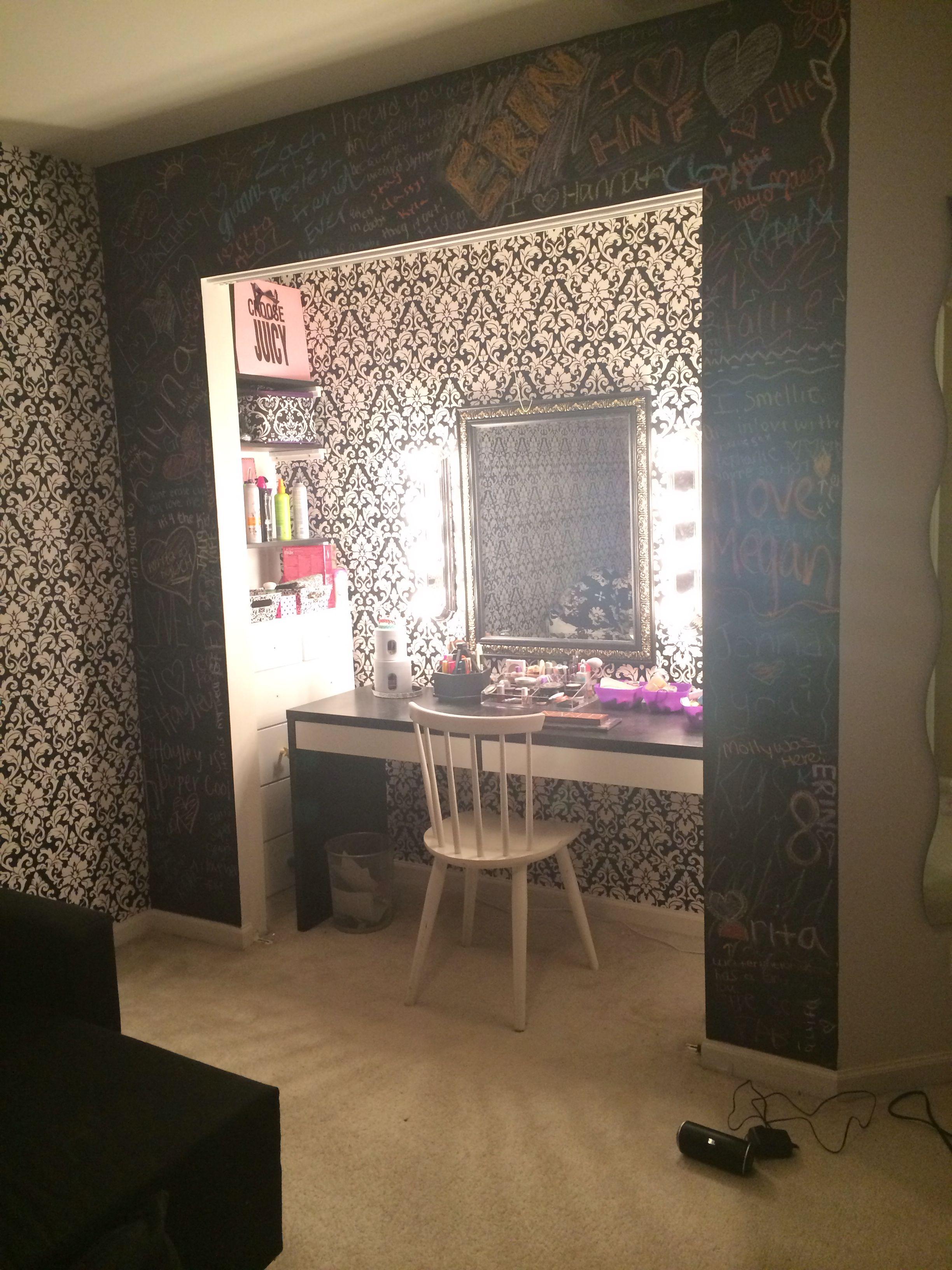 Closet vanity - love the wallpaper backgrounf | Beauty room decor ...