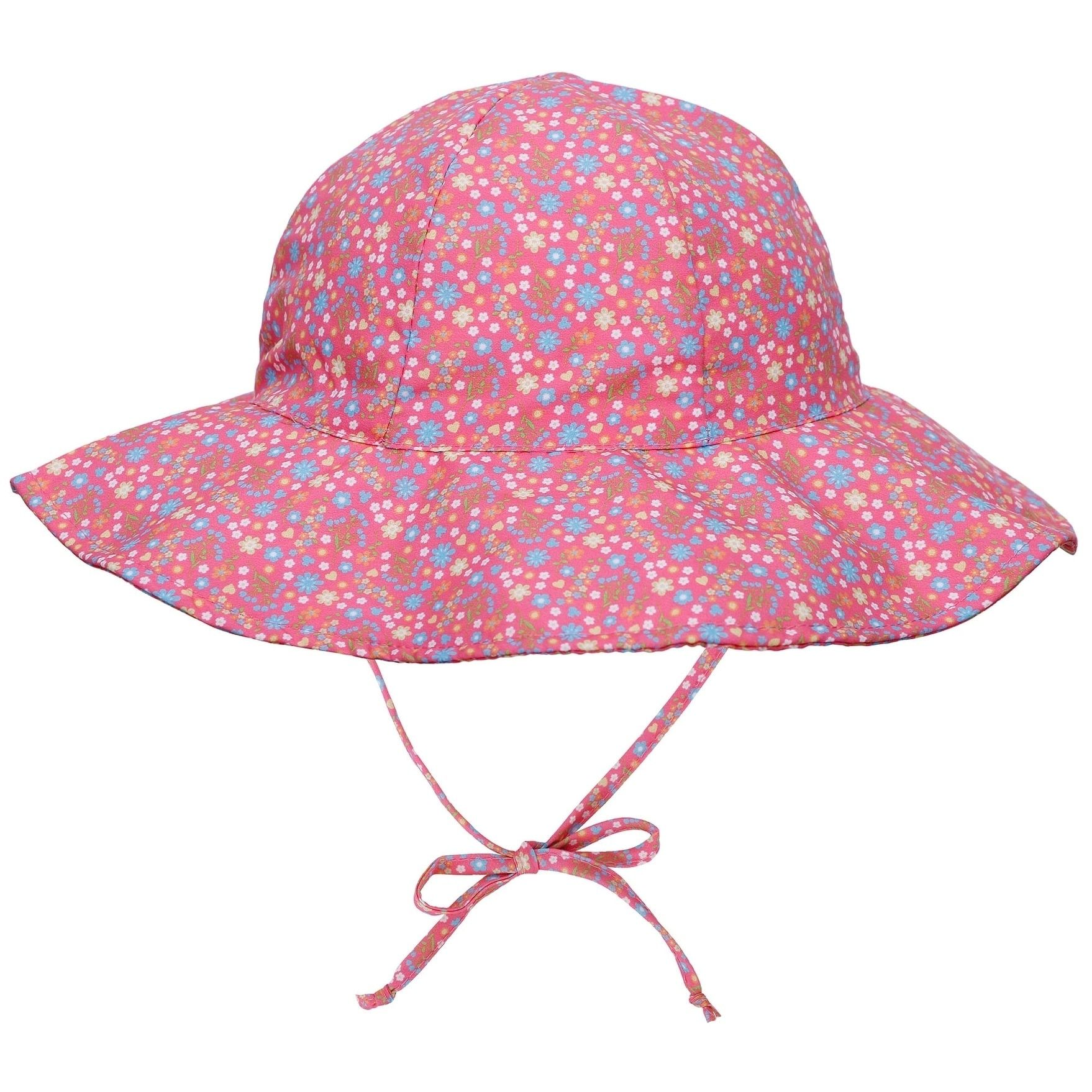 UPF 50 Sun Protection Wide Brim Baby Sun Hat (pink flower - 0-12 months) 0b7f4a64cf3