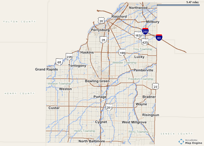 Wood County Ohio line Auditor Printer Friendly Map
