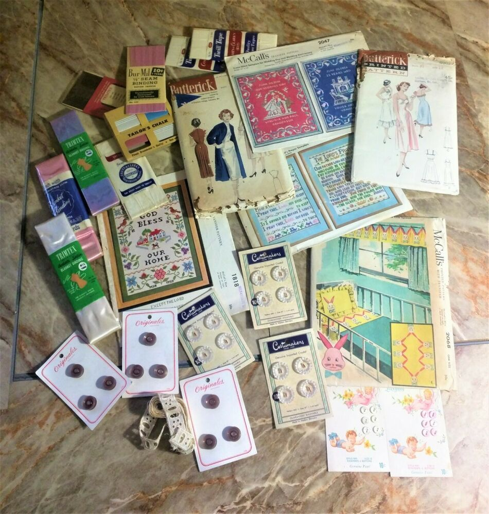 Huge Vintage 1956 Sewing Lot Buttons Patterns Backing Trim