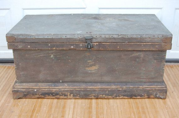 Vintage Rustic Wooden Carpenter Tool Chest Coffee Table by C3L35T3