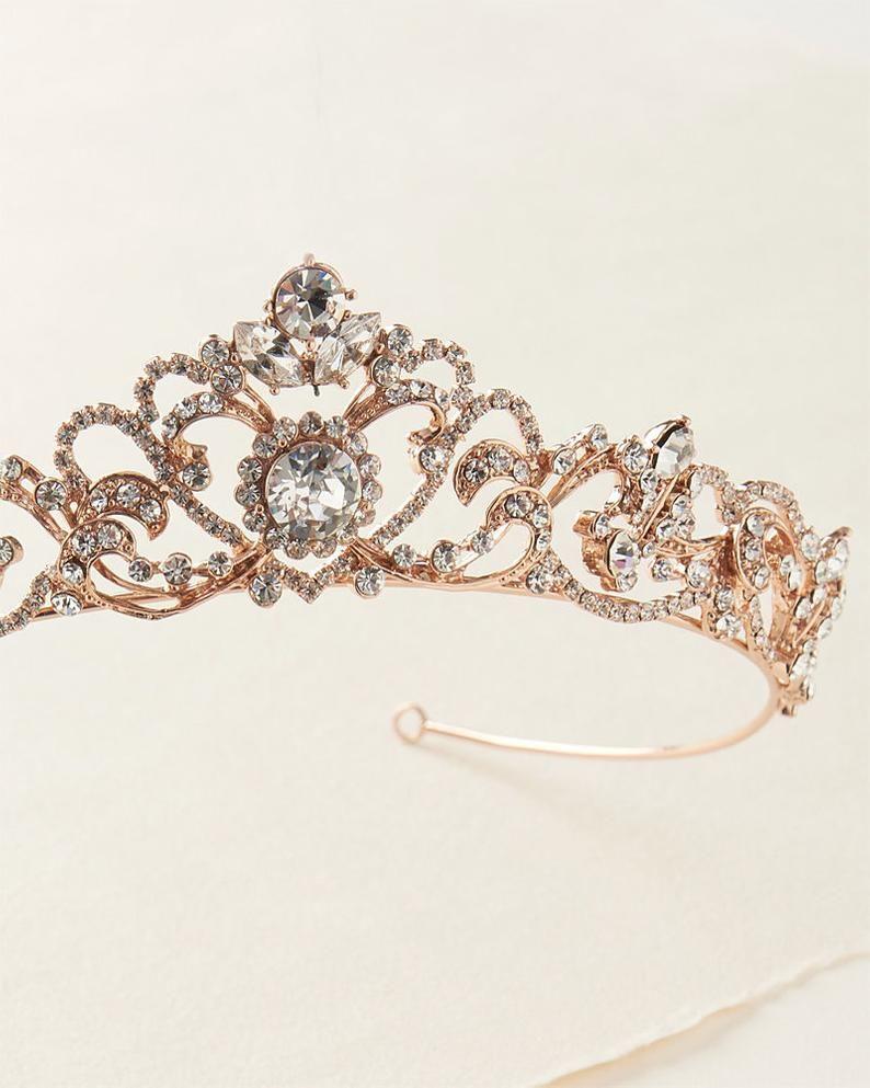 Gold Rhinestone Wedding Tiara, Royal Bridal Crown, Gold Princess Crown, Princess Tiara, Gold Bridal Tiara, Gold Tiara, Gold Crown ~TI-3157
