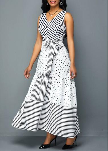 9fcf9c3c9f5 Womens White Sleeveless Belted Maxi Dress V Neck Belted Printed Maxi Dress