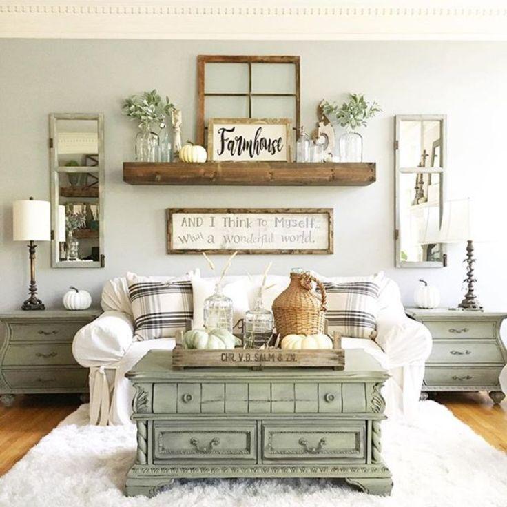 Stunning 39 SImple Rustic Farmhouse Living Room Decor Ideas s