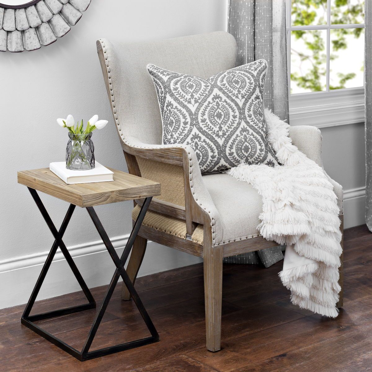 It S All In The Details That S We Why Love The Exposed Wood On This Accent Chair The Accent Chairs For Living Room White Accent Chair Farmhouse Accent Chair