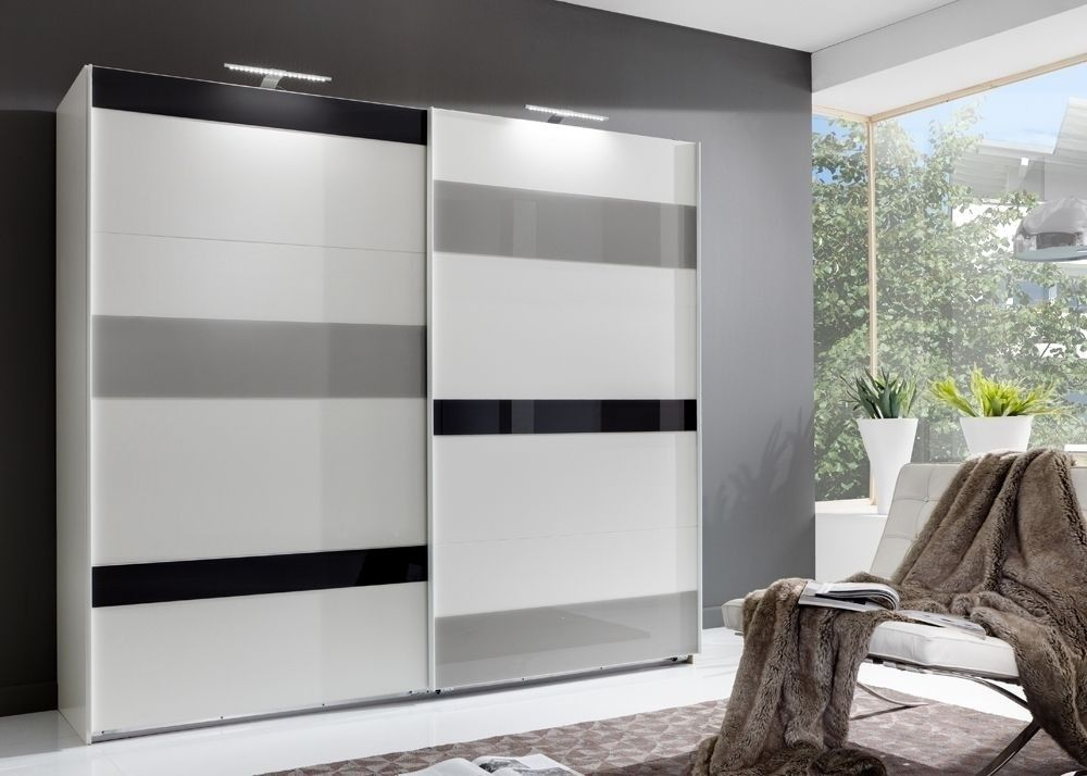 Schwebetürenschrank weiß  Schwebetürenschrank 270 Mondrian Weiß Grau 7269. Buy now at https ...
