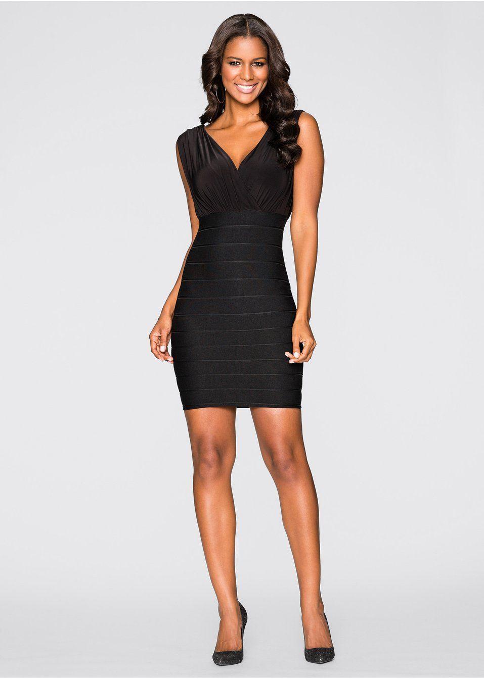 Sukienka z modelującego figurę materiału. Dł. w rozm. 38 ok. 90 cm. góra: 92% poliester, 8% elastan,  dół: 97% poliester, 3% elastan