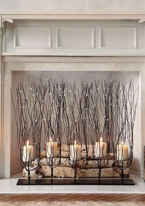fireplace candle displays to make your home cozier comfydwelling rh pinterest com Candke Fireplace Insert votive candle holder fireplace screen