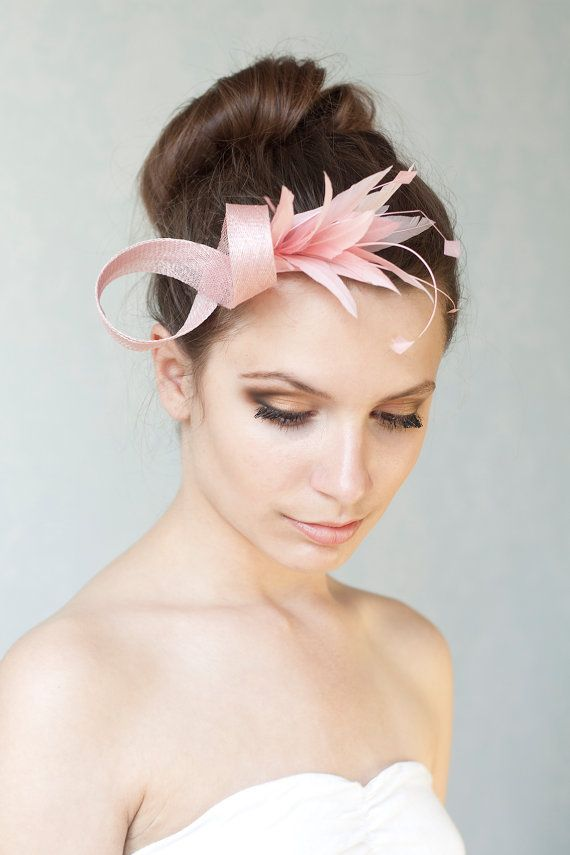 Powder rose fascinator with feathers 268f01de9d7