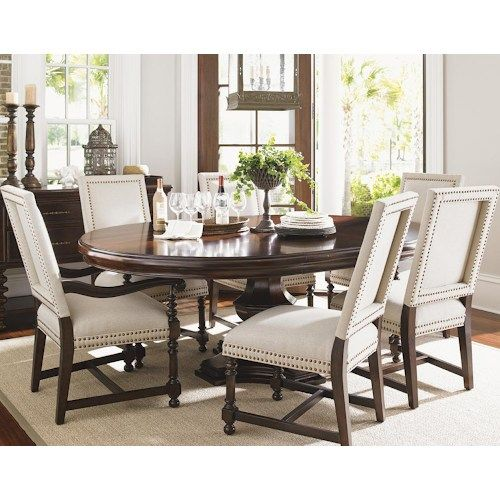 Tommy Bahama Home Kilimanjaro Seven Piece Maracaibo Dining Table And Cape Verde Upholstered Chairs Set Dining Table Dining Table In Kitchen Dining Chairs