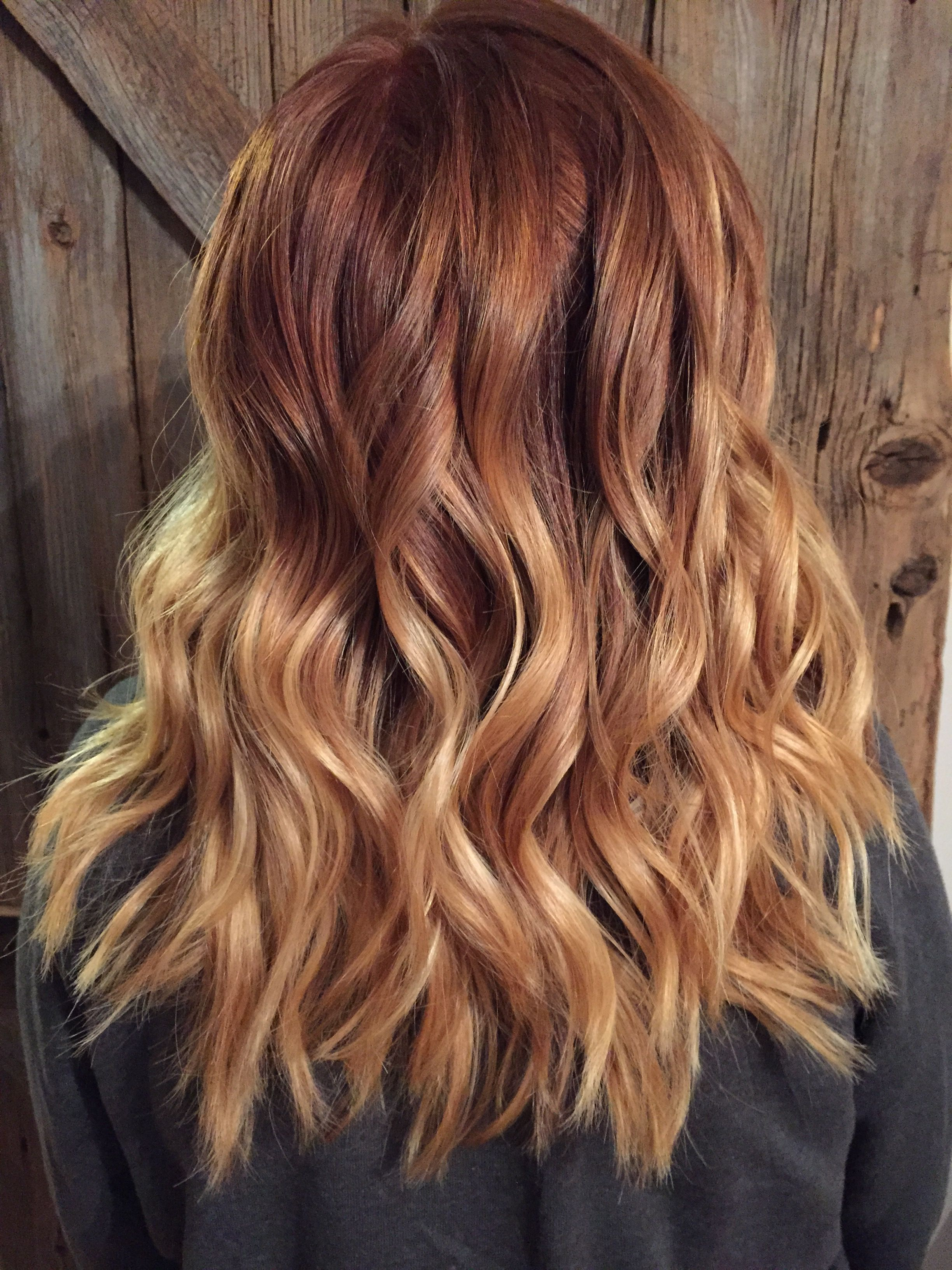 Copper Red to blonde ombré with balayage highlights | Hair ...