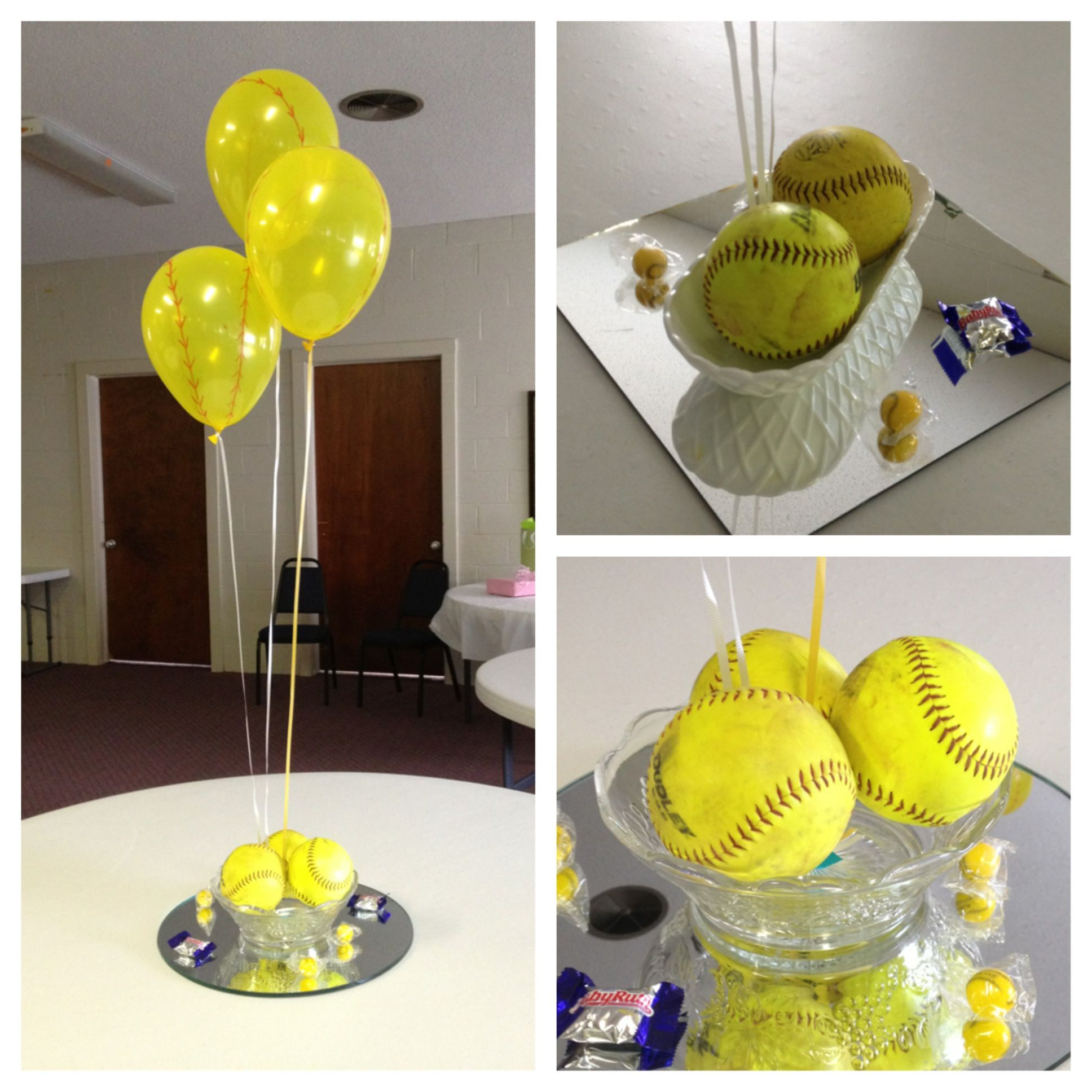 Party Decorations Table Centerpieces: Softball Themed Baby Shower