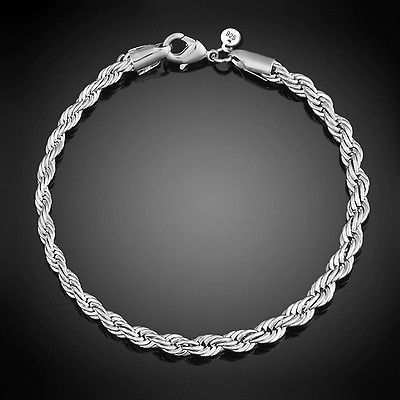 awesome New Fashion Women 925 Sterling Silver Twisted Bracelet Chain Bangle Gift Jewelry - For Sale View more at http://shipperscentral.com/wp/product/new-fashion-women-925-sterling-silver-twisted-bracelet-chain-bangle-gift-jewelry-for-sale/