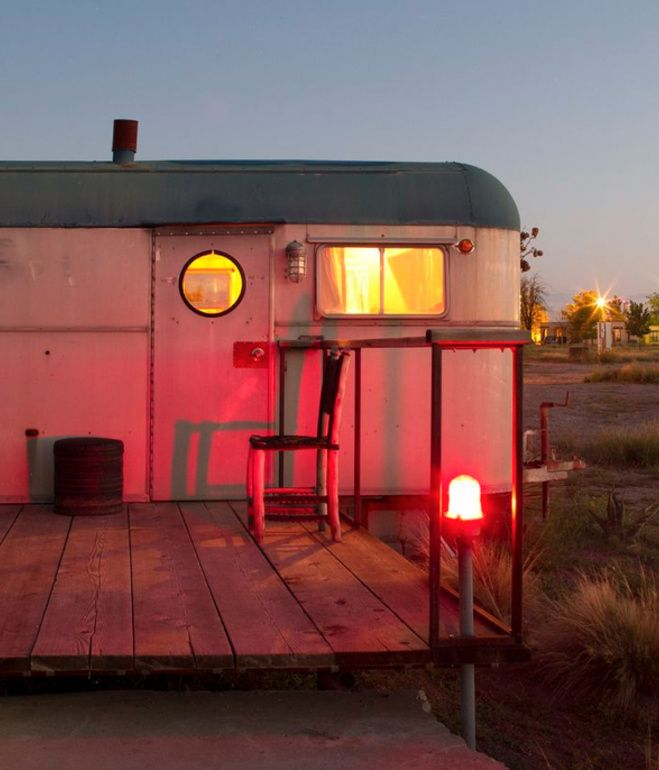 El Cosmico Hotel With The Residents Awake Inside This Trailer S Burnished Glow Reflects