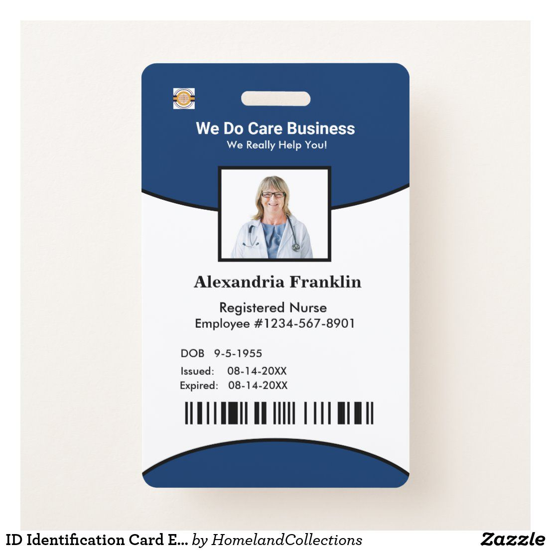 Id Identification Card Bar Code Photo Employee Badge Zazzle Com Employee Id Card Business Photos Cool Business Cards