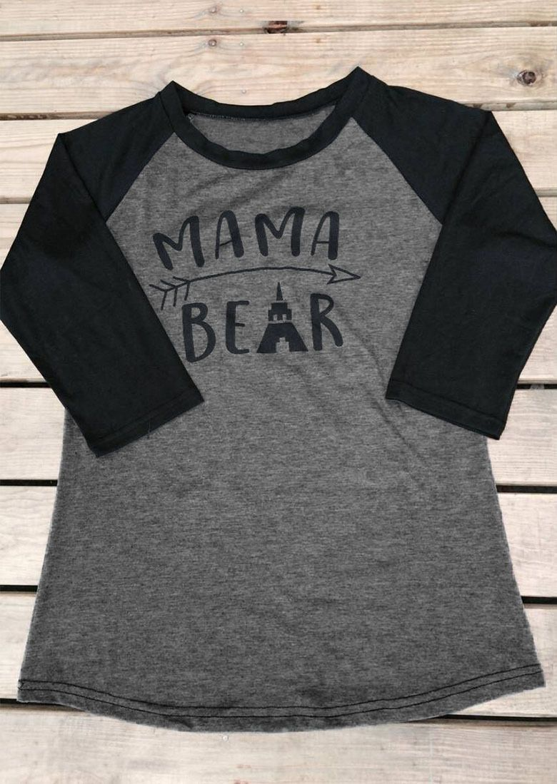 1bc2d0bb Women'S Fashion Tee Letter Printed Splicing Mama Bear Long Sleeve Top T- Shirt
