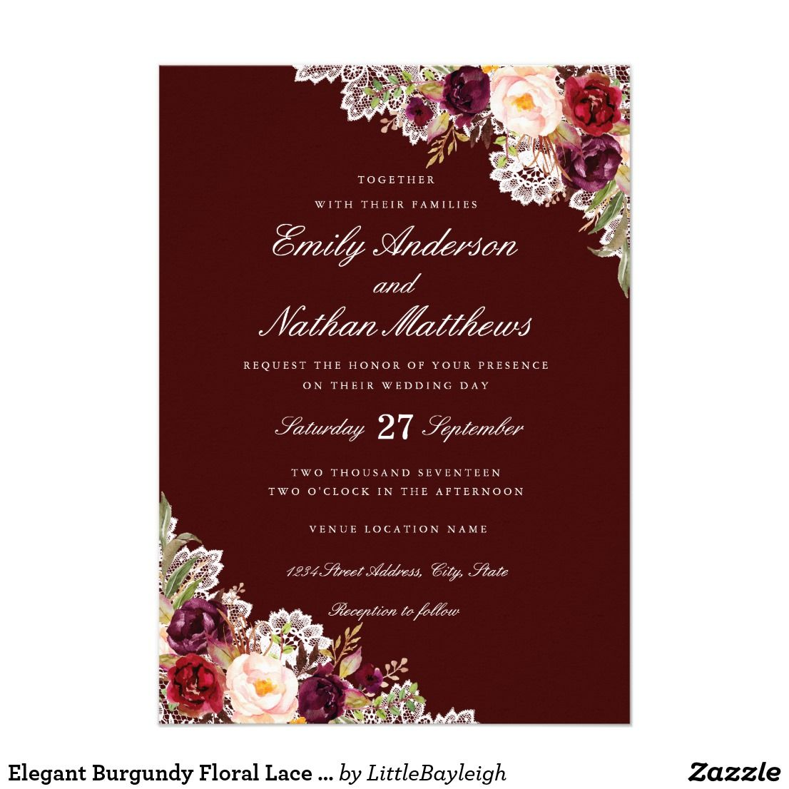 Elegant Burgundy Floral Lace Wedding Invitation Invitations