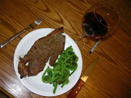 Lisa's working so I grilled myself a nice steak, sauteed some local fiddle-heads, and poured a glass of a fine red. Notice my sharpie poised and ready for me to use it to draw when I'm finished!