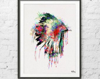 Native American Headdress Art Native American Poster By Zenioart