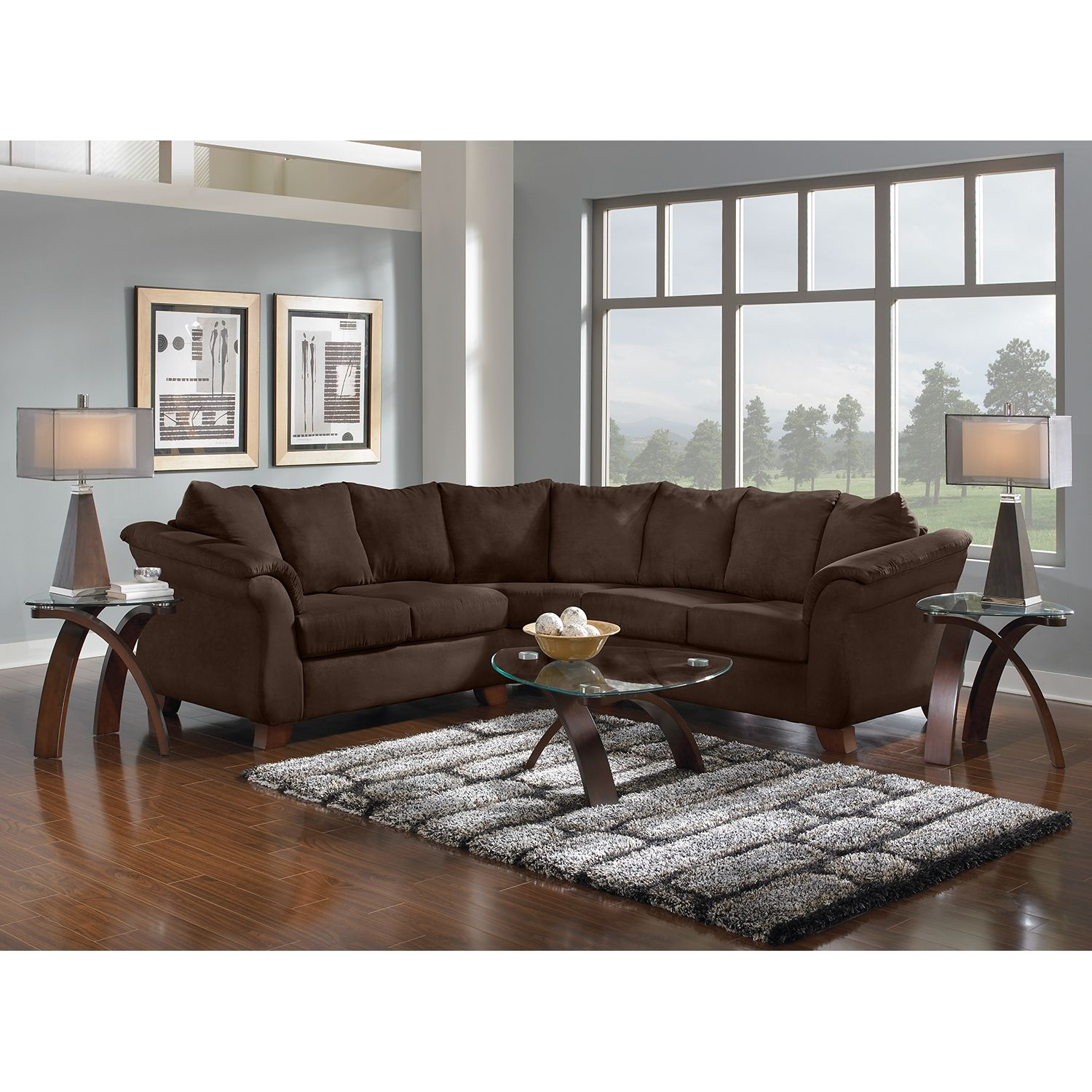 Adrian 2 Piece Sectional Chocolate Home living