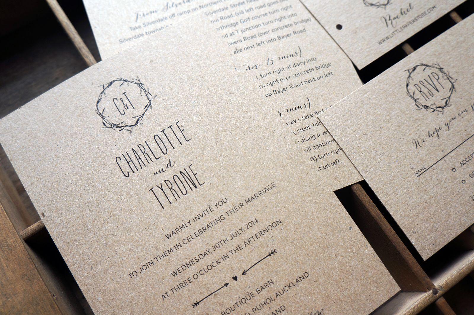 Rustic Black And White Wedding Invitations Kraft Paper Custom