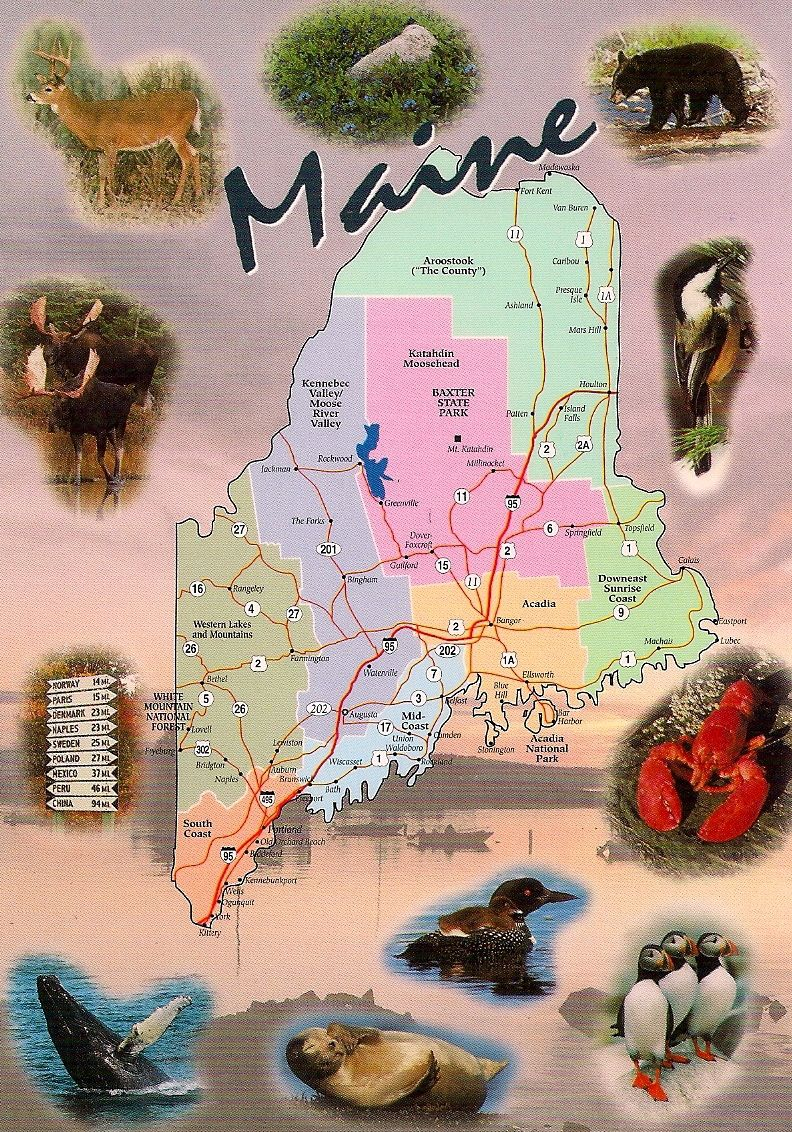 Maine map card sent in private swap to the Philippines