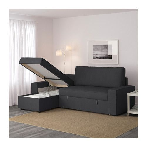 Sectional Sofa IKEA VILASUND Sofa bed with chaise longue Hillared dark blue Pocket springs adjust to your body and keep your spine straight when you sleep