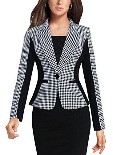a045d6965d4 2016 New Woman Patchwork Blazer Single Botton Coat Slim Long Sleeve Women  Blazer Plaid Black Fabric Office Blazer