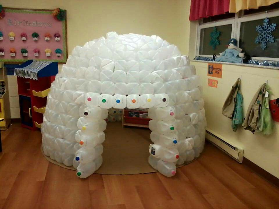 Make An Igloo Out of Milk Jugs. Guess it could also be a