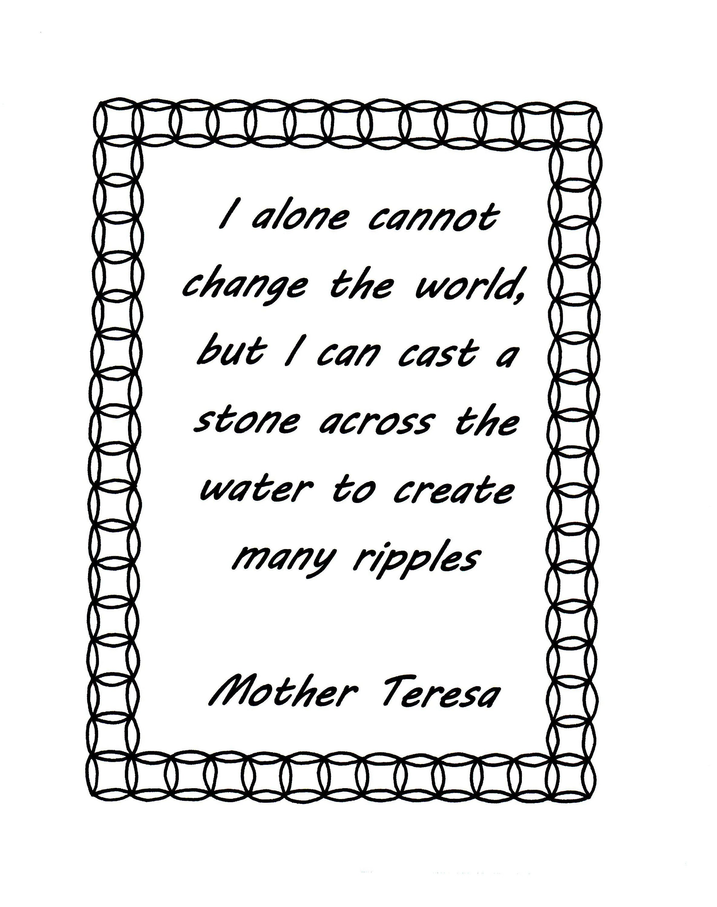 Mother Teresa Quote I Alone Cannot Coloring Page By HorsefeatherNuggets On Etsy