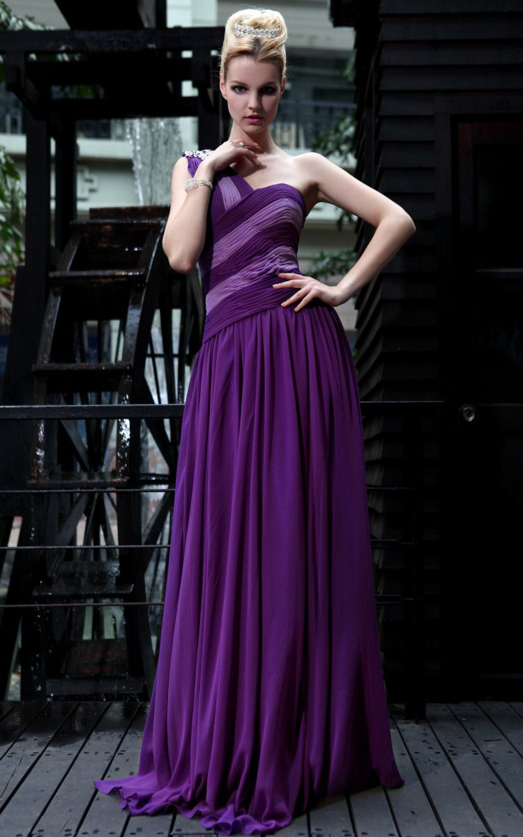 New One Shoulder Silk Purple Bridemaid cocktail Long evening dress ...
