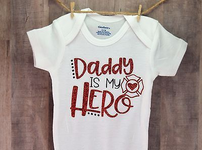 45003924 Daddy Is My Hero Police Onesie Baby Shower Gift Fireman Firefighter Outfit