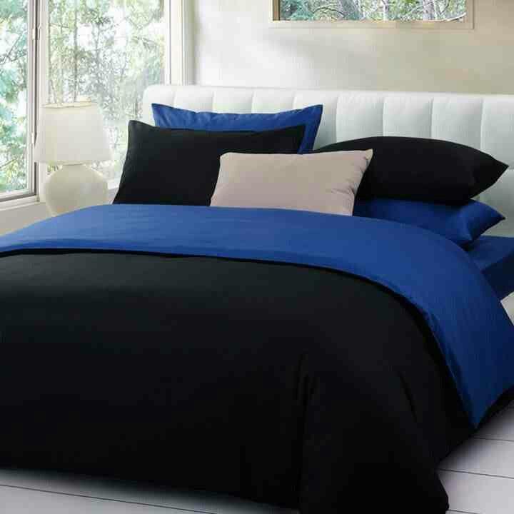 Black & Royal Blue Bedding Set