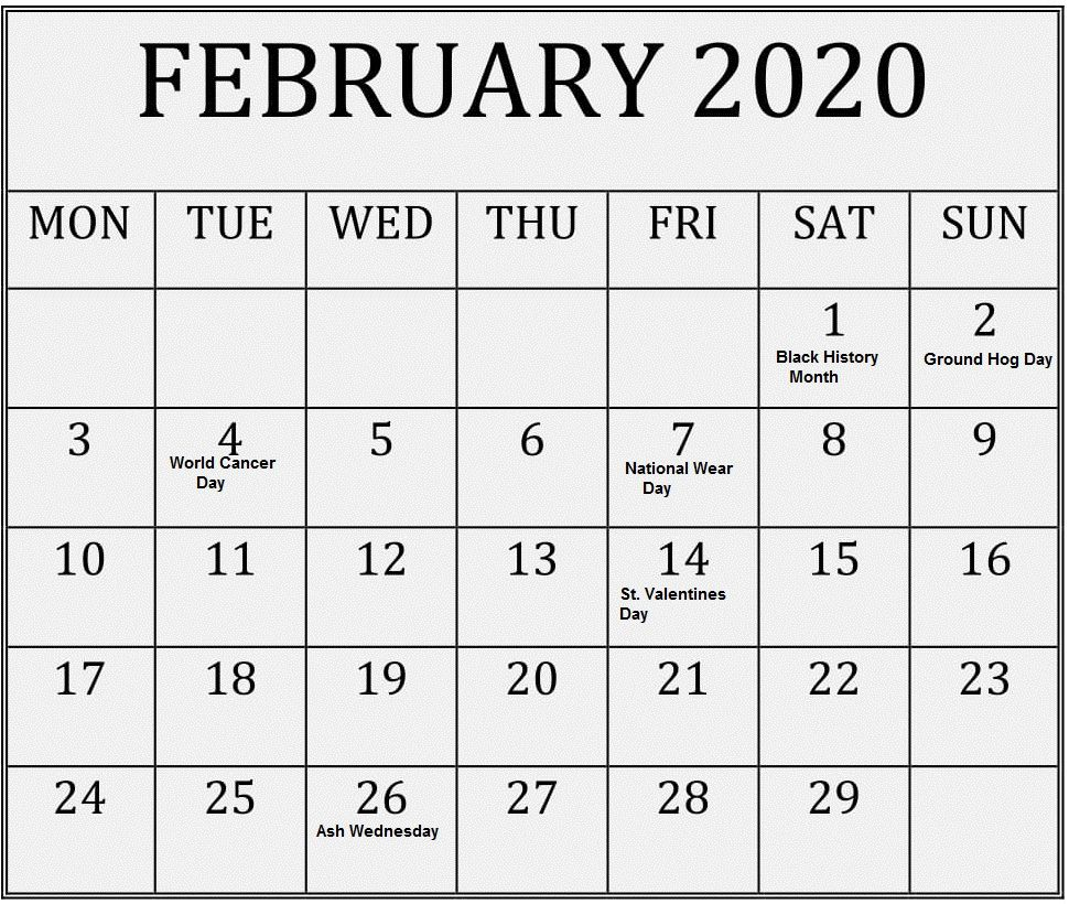 February 2020 Calendar With Holidays Usa Uk Canada India Australia