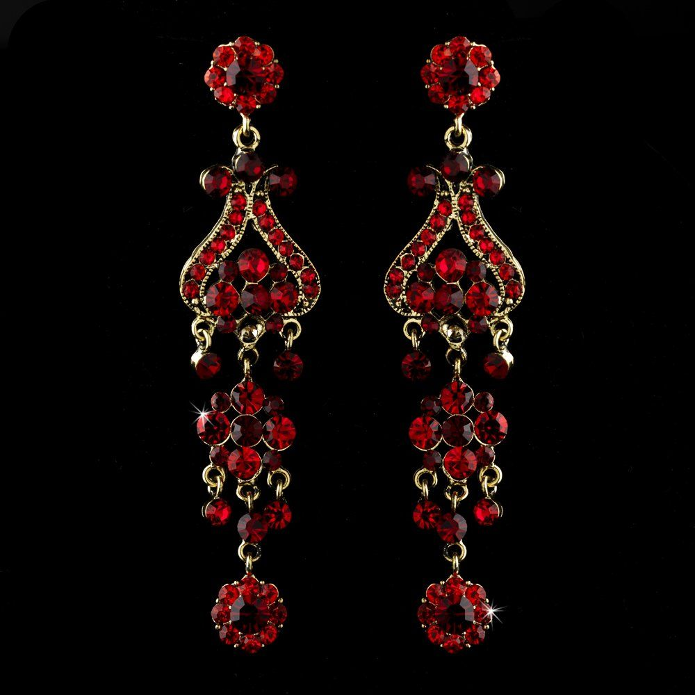 Bold 4 gold with red crystal quinceanera sweet 16 or prom bold 4 gold with red crystal quinceanera sweet 16 or prom chandelier earrings aloadofball Gallery