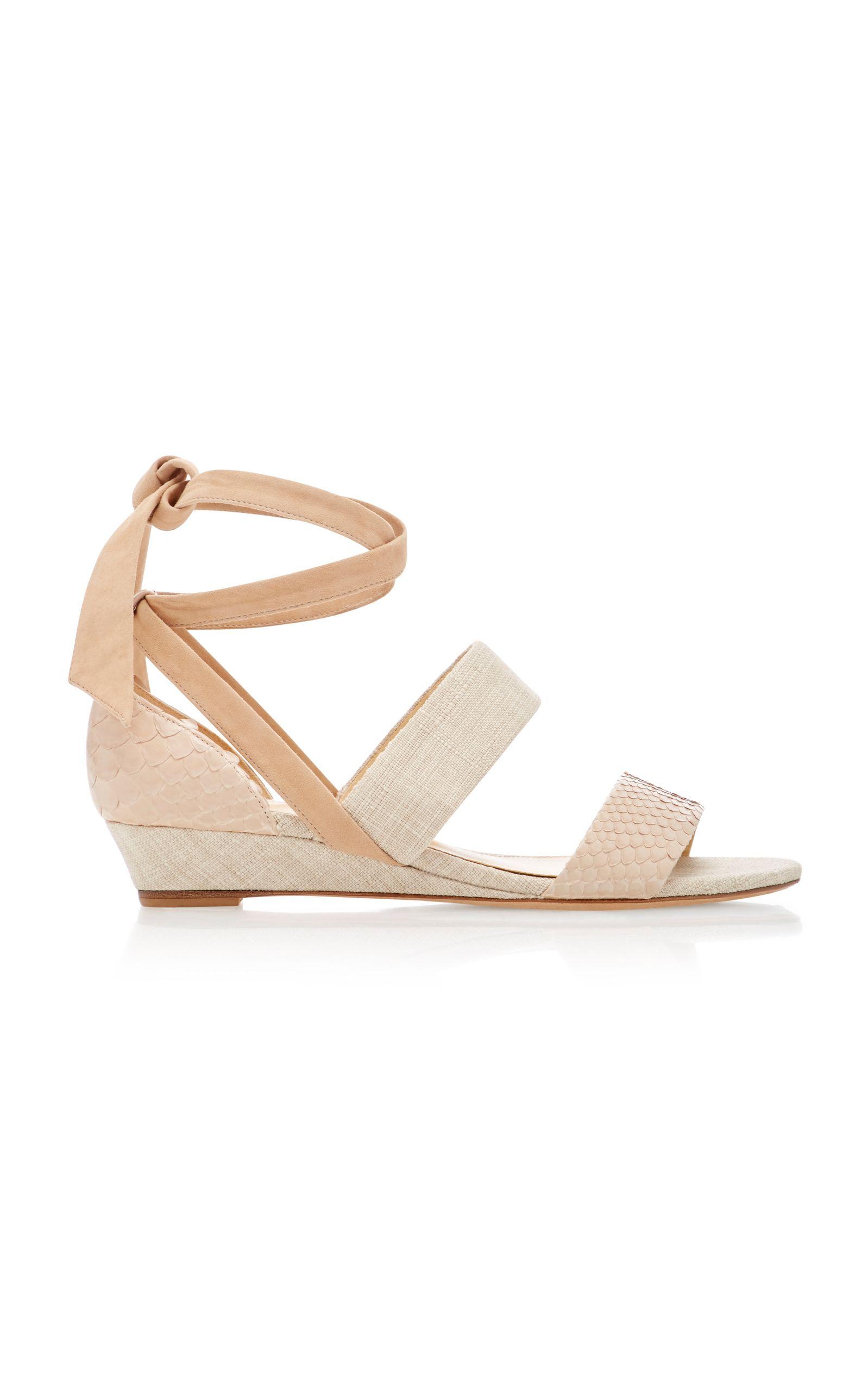 a06294ab6ec ALEXANDRE BIRMAN NEW YANNA PYTHON CANVAS AND SUEDE WEDGE SANDALS.   alexandrebirman  shoes