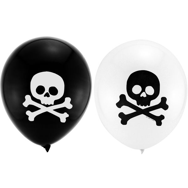 One 6 count package of Pirate Birthday Latex Balloons. Mix these black and white Pirate Birthday Latex Balloons up with a few pirate themed foil balloons for a fabulous bouquet or centerpiece. All of your little party pirates are going to want one ofPirate