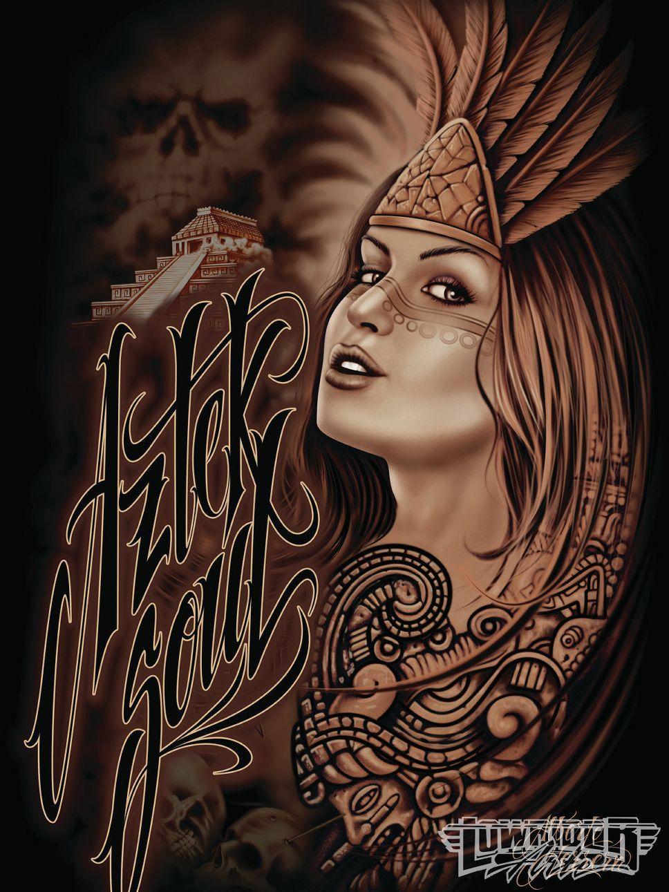 Alberto Herrera Aztek Ink Chicano Art Aztec