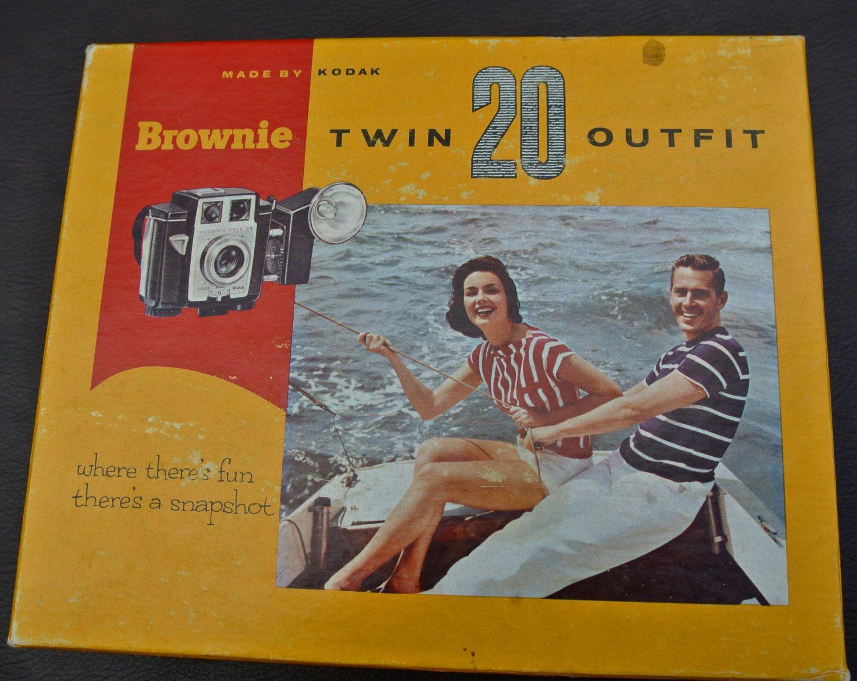 Kodak Brownie, Twin 20 Camera, Vintage Kodak Camera, Retro Camera, Original Box. by DomesticTitanVintage on Etsy