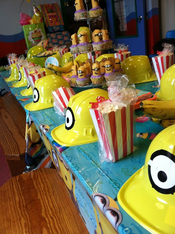 Exceptional Despicable Me Party Ideas Part - 13: Birthday Party Despicable Me- Love The Construction Hats!