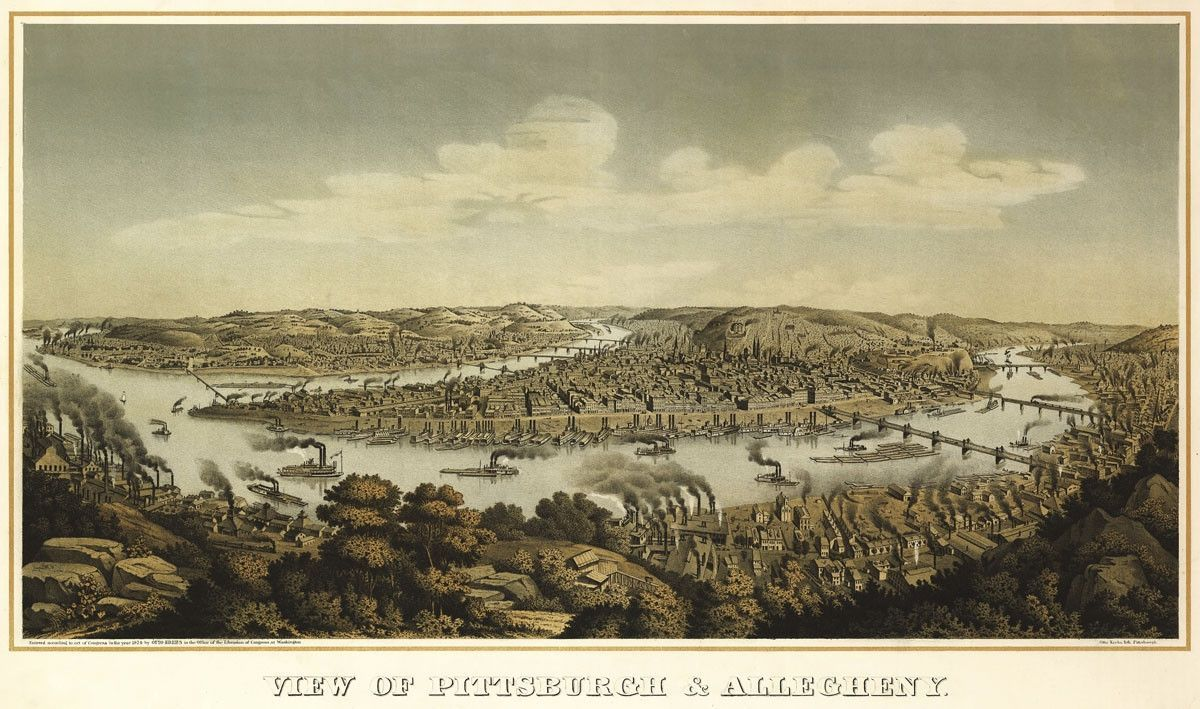 View of Pittsburgh & Allegheny, 1874