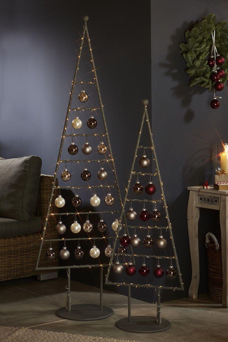 baum tilo mit kugeln und beleuchtung 115 cm silber grau. Black Bedroom Furniture Sets. Home Design Ideas