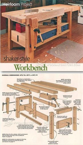 Beautiful Shaker Workbench Plans Workshop Solutions Projects Tips and Tricks Photos - Simple woodworking furniture plans Photos
