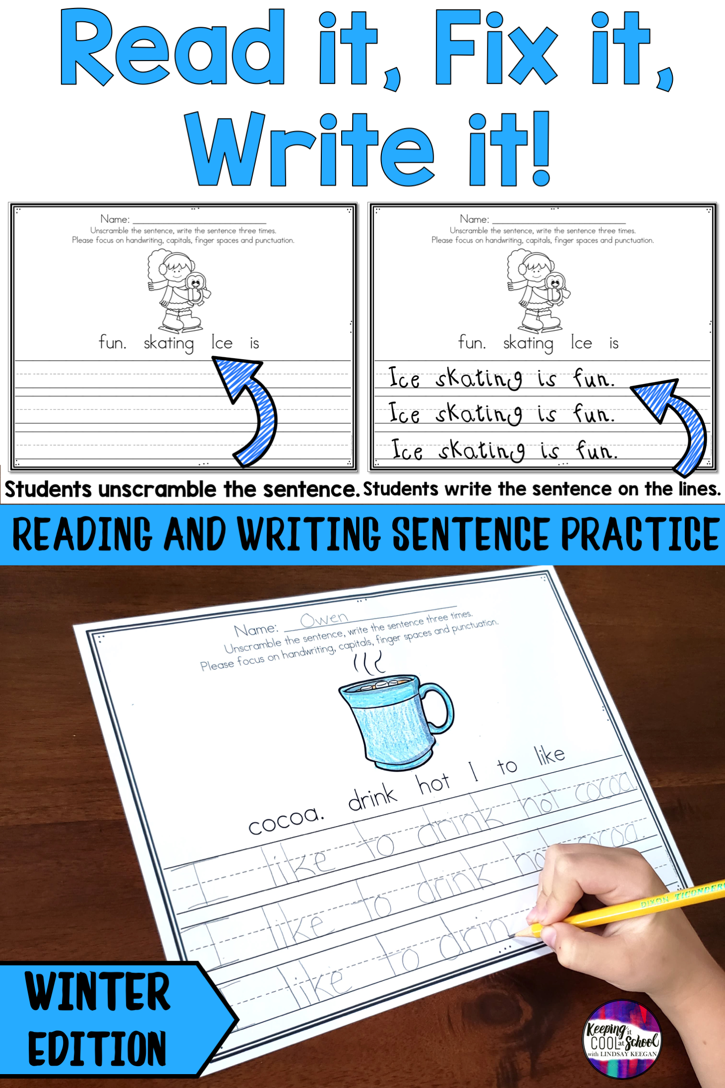 Winter Sentence Writing Practice