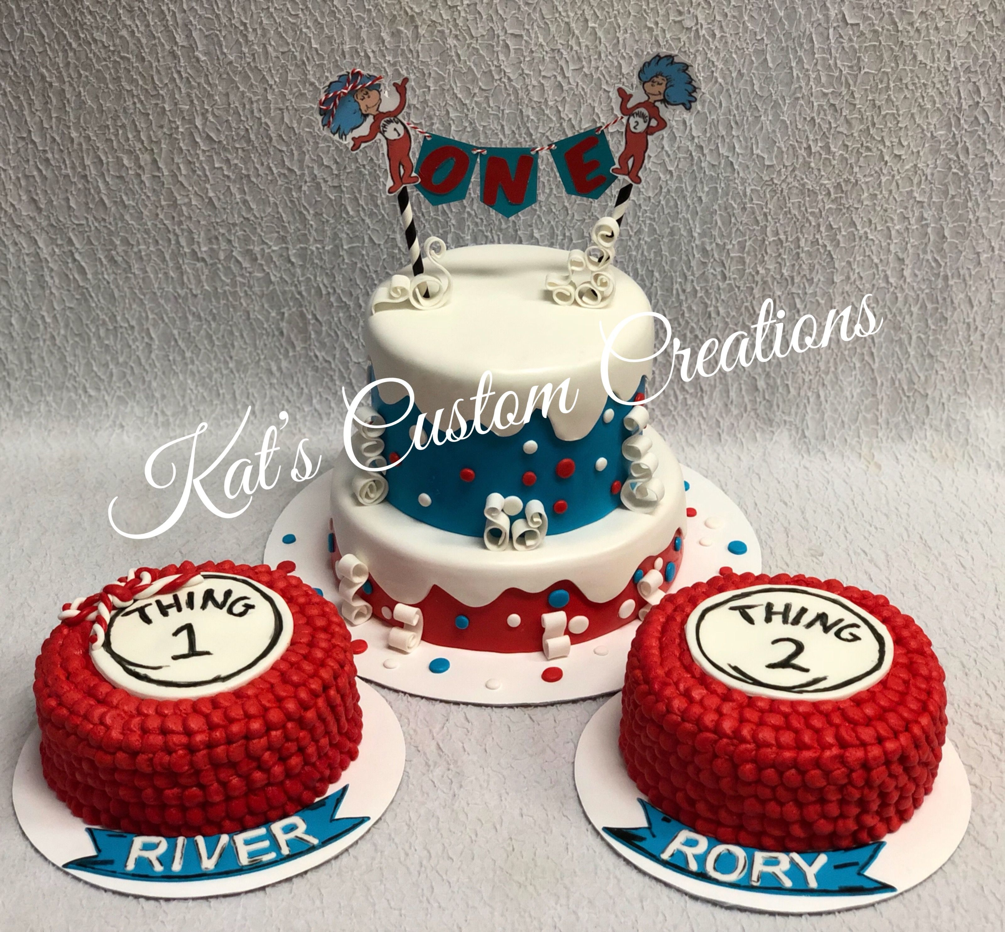 Twins Thing 1 Thing 2 1st Birthday Cake And Smash Cakes My