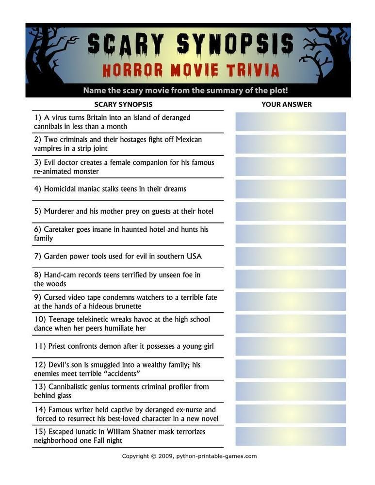 photo relating to Autumn Trivia for Seniors Printable called Halloween: Overwhelming Synopsis Horror Video Trivia, $3.95
