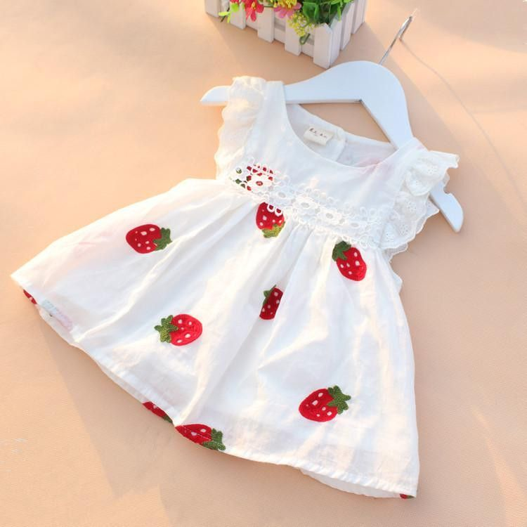 High quality 0 2y newborn baby girl dress baby summer embroidery flower strawberry cotton dress infant baby 1year birthday dress